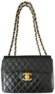 Chanel Leather Seal Jumbo Clean Shoulder Bag