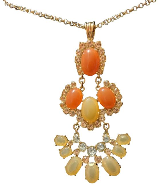 Item - Pastel Orange Pastel Yellow Clear Pendant Necklace