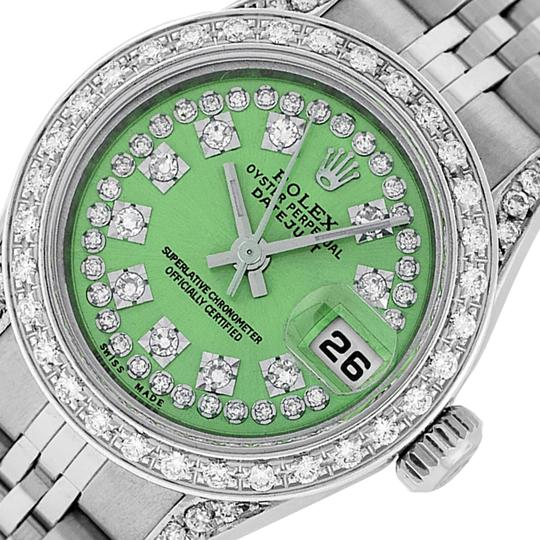 Preload https://img-static.tradesy.com/item/25809623/rolex-green-ladies-datejust-stainless-steel-with-string-diamond-dial-watch-0-2-540-540.jpg