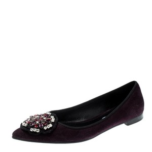 Prada Crystal Embellished Suede Pointed Toe Leather Purple Flats