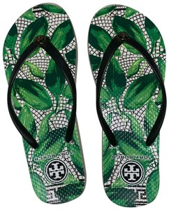 Tory Burch white, black, green Sandals