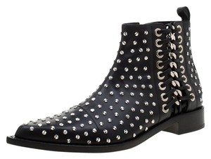 Alexander McQueen Leather Studded Pointed Toe Black Boots