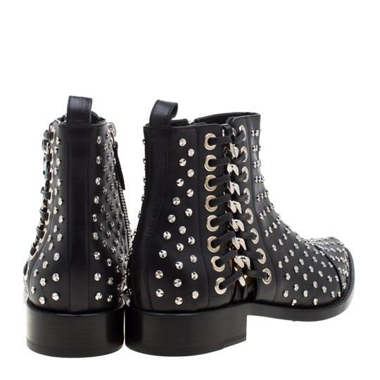 Alexander McQueen Leather Studded Pointed Toe Black Boots Image 2