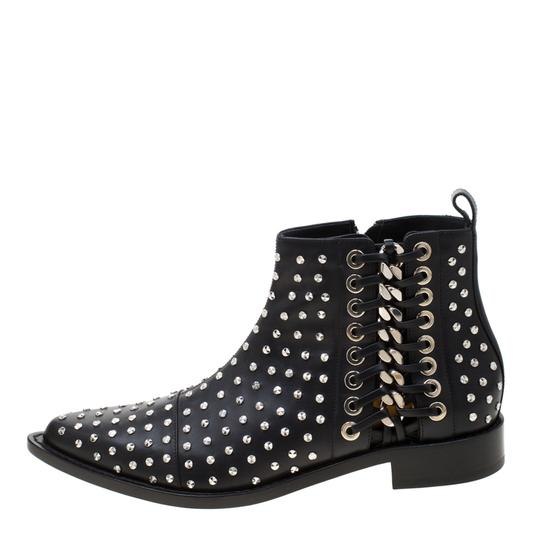Alexander McQueen Leather Studded Pointed Toe Black Boots Image 4