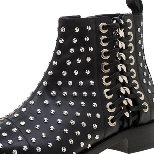 Alexander McQueen Leather Studded Pointed Toe Black Boots Image 6