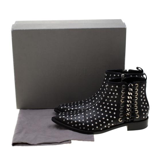 Alexander McQueen Leather Studded Pointed Toe Black Boots Image 7