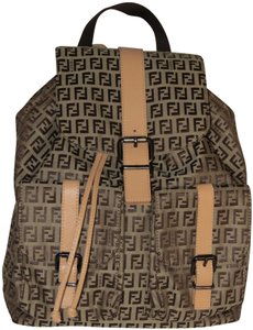 Fendi Ff Logo Canvas Backpack