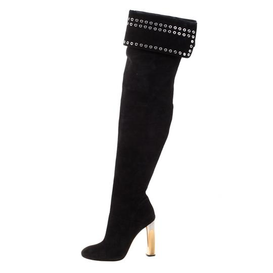 Alexander McQueen Suede Detail Leather Black Boots Image 3