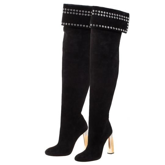Alexander McQueen Suede Detail Leather Black Boots Image 4