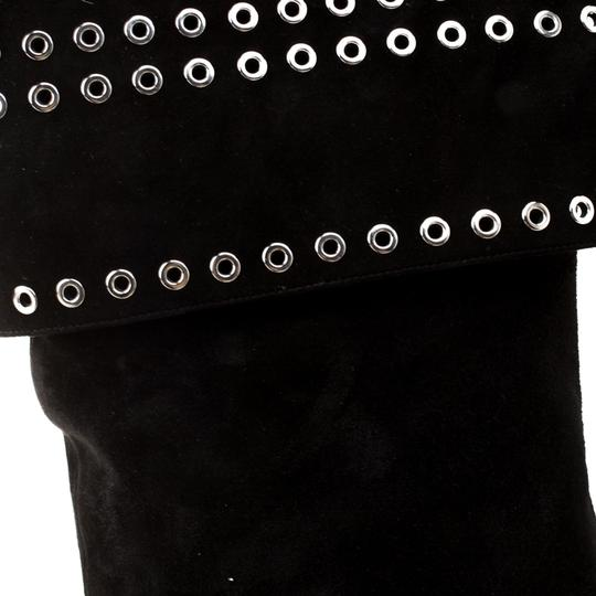 Alexander McQueen Suede Detail Leather Black Boots Image 6