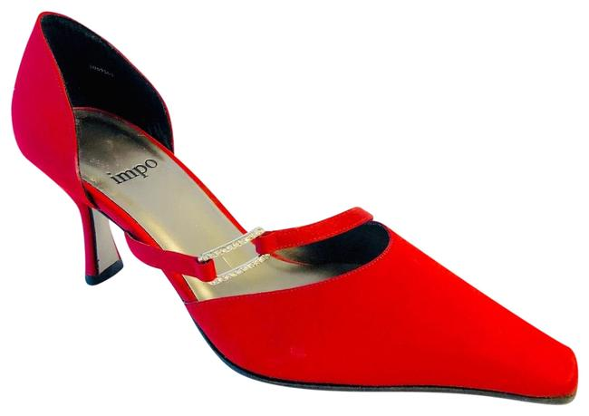 Impo Red Satin D'orsay Pumps Size US 5.5 Regular (M, B) Impo Red Satin D'orsay Pumps Size US 5.5 Regular (M, B) Image 1