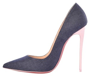 Christian Louboutin Patent Leather Leather Denim Blue Pumps