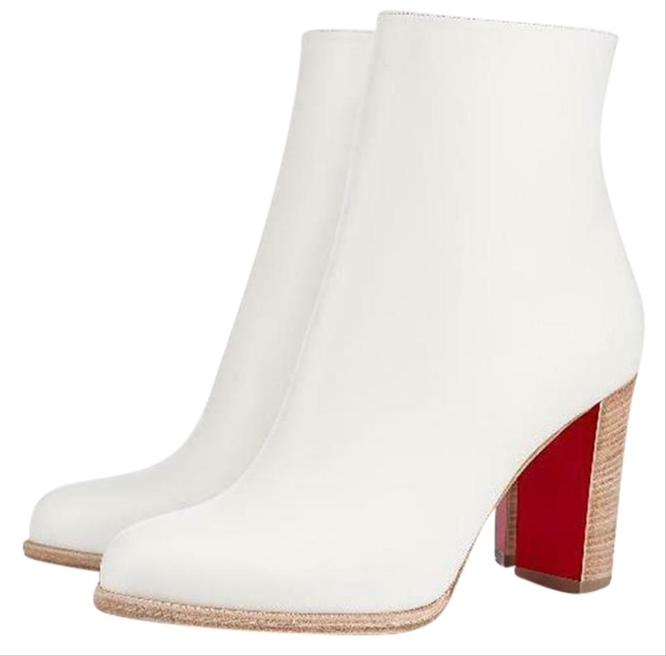 best service 2e79d 247e8 Christian Louboutin White Adox 85 Leather Ankle Heels Boots/Booties Size EU  35 (Approx. US 5) Regular (M, B) 30% off retail