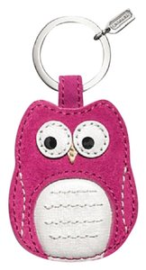 Coach New With Tags COACH Magenta Owl Motif Leather Keychain Fob