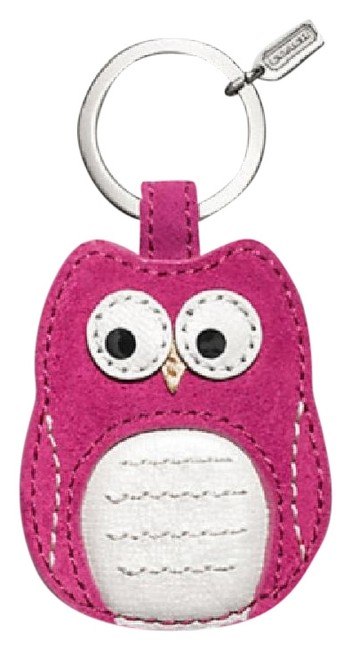 Item - Magenta Pinksilver New with Tags Owl Motif Leather Keychain Fob
