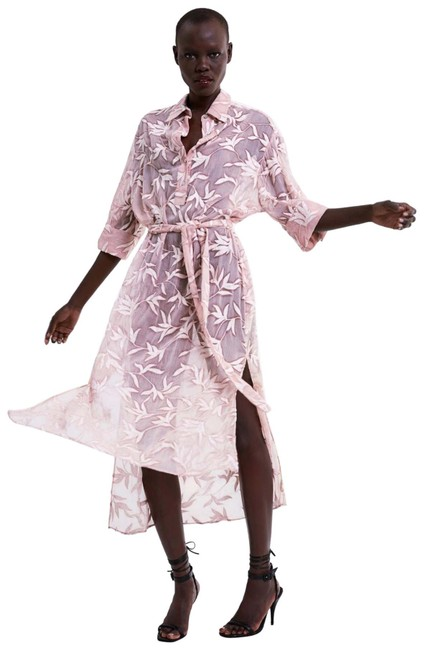 Item - Pink Embroidered Sheer Tunic Long Night Out Dress Size 8 (M)