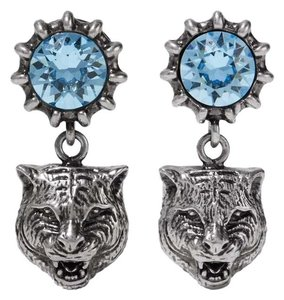 Gucci Aquamarine tiger silver tone crystal earrings