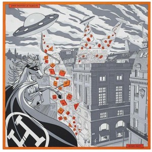 Hermès Hermes Silk Scarf Super Special Space Shopping - orange