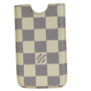 Louis Vuitton LOUIS VUITTON Logos Etui Cell Phone Case iPhone 4 Damier Azur