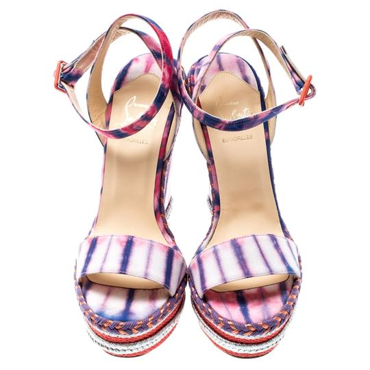 Christian Louboutin Woven Wedge Leather Multicolor Sandals Image 1
