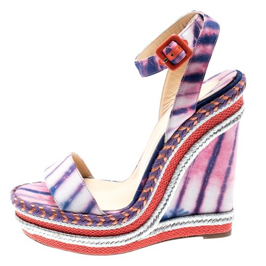 Christian Louboutin Woven Wedge Leather Multicolor Sandals Image 4