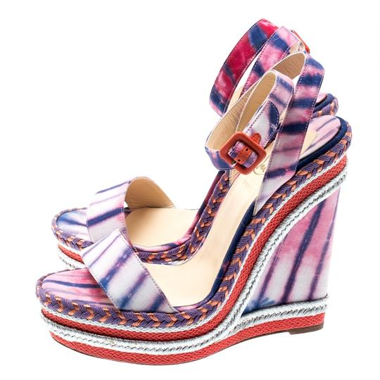 Christian Louboutin Woven Wedge Leather Multicolor Sandals Image 5