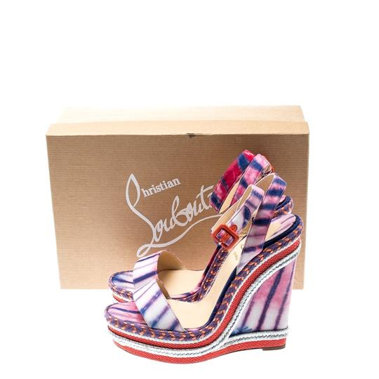 Christian Louboutin Woven Wedge Leather Multicolor Sandals Image 7