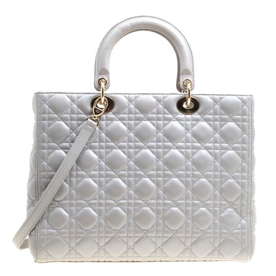 Dior Leather Tote in Grey Image 1