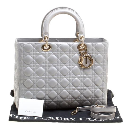 Dior Leather Tote in Grey Image 11