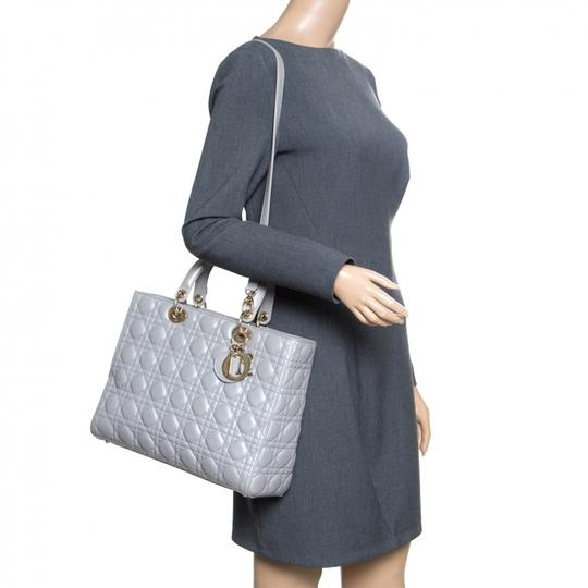 Dior Leather Tote in Grey Image 2