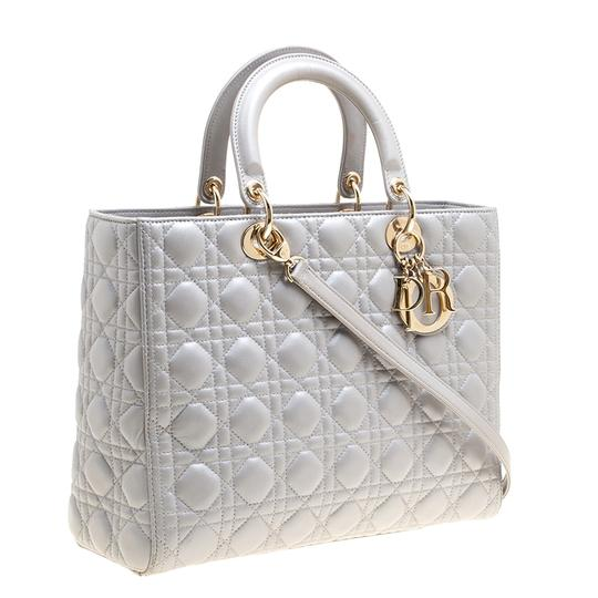Dior Leather Tote in Grey Image 5