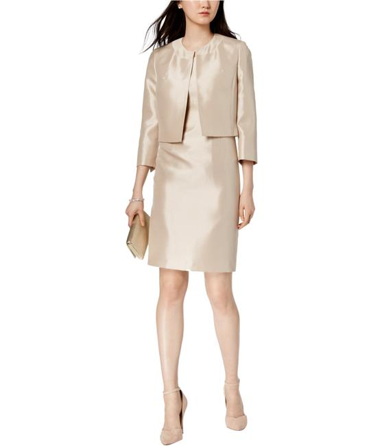 Item - Champagne Shiny Fly Away Jacket with Sheath Mid-length Work/Office Dress Size 12 (L)