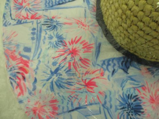 Lilly Pulitzer NEW LILLY PULITZER Sea to Shining Sea Straw Fabric Floppy Beach Hat Image 5