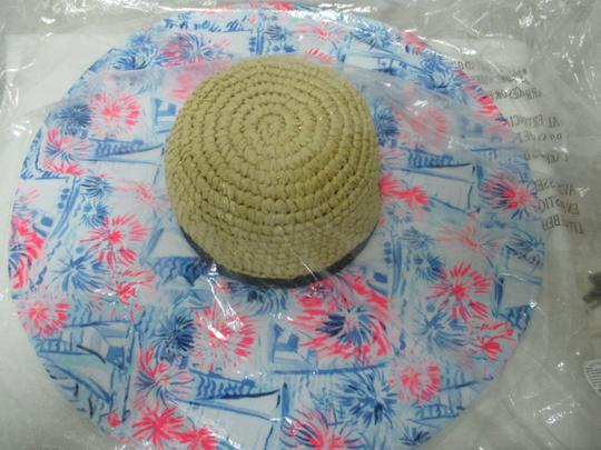 Lilly Pulitzer NEW LILLY PULITZER Sea to Shining Sea Straw Fabric Floppy Beach Hat Image 6