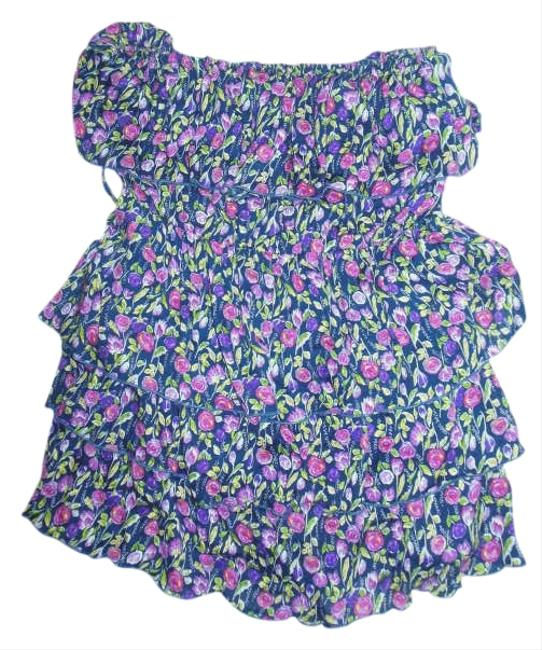 Forever 21 Top blue with pink flowers