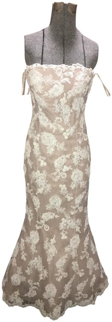 Item - Off White Beige Mesh Under Neath with Lace Special Decorations Pearls Sequins Long Cocktail Dress Size 2 (XS)