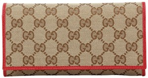 Gucci NEW Gucci Beige Red Canvas Leather GG Guccissima Continental Bifold Wallet 346058