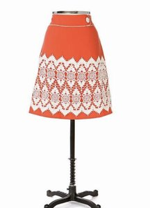 Anthropologie Lace Trim Skirt Coral