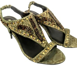 Elizabeth and James Beaded Pumps Olive Sandals