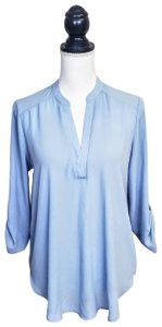 Lush Polyester Longsleeve Career Vneck Plunging Top Light Blue