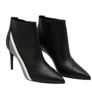 Pierre Hardy Leather Bold Stripe Color-blocking Pointed Toe Black Boots
