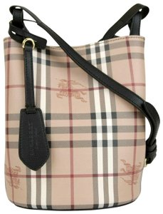 Burberry Beige/Black Coated Canvas/Leather Haymarket Cross Body Bag
