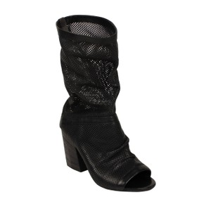 Marsèll Leather Winter Distressed Open Toe Black Boots