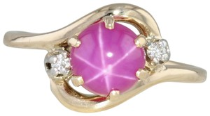 Other Synthetic Star Ruby & Diamond Ring - 14k Size 6.5 Bypass Wrap Band