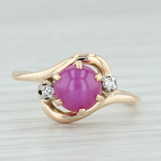 Other Synthetic Star Ruby & Diamond Ring - 14k Size 6.5 Bypass Wrap Band Image 2