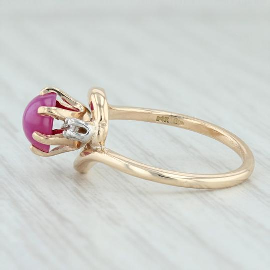 Other Synthetic Star Ruby & Diamond Ring - 14k Size 6.5 Bypass Wrap Band Image 3