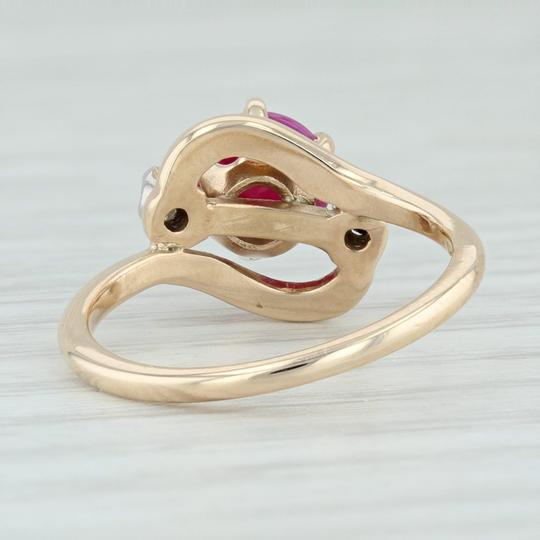 Other Synthetic Star Ruby & Diamond Ring - 14k Size 6.5 Bypass Wrap Band Image 4