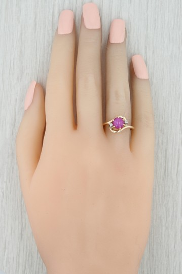 Other Synthetic Star Ruby & Diamond Ring - 14k Size 6.5 Bypass Wrap Band Image 7