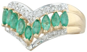Other .55ctw Emerald Diamond Cocktail Ring 14k Size 6-6.25 V-Contour Band