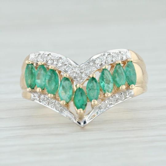 Other .55ctw Emerald Diamond Cocktail Ring 14k Size 6-6.25 V-Contour Band Image 1